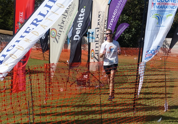 Mike Sohaskey at Victoria Falls Marathon finish