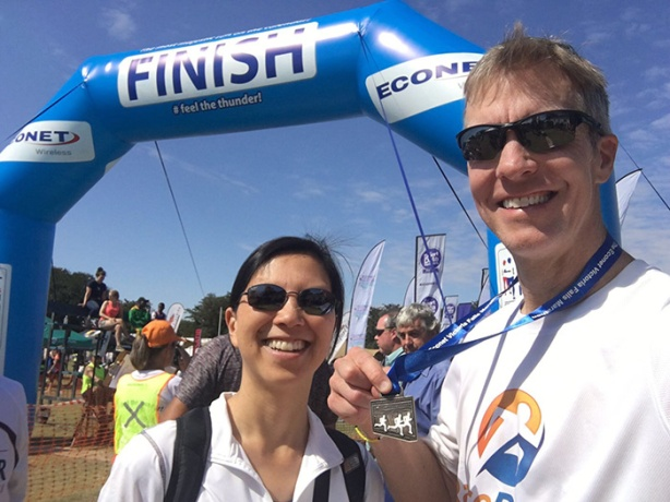 Mike Sohaskey & Katie Ho at Victoria Falls Marathon finish line