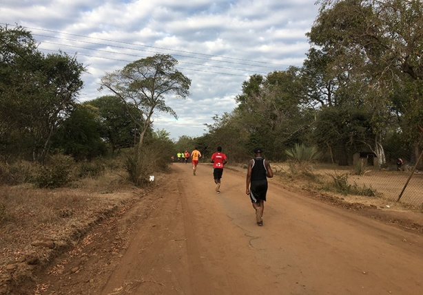 Miles 9 and 20 of Victoria Falls Marathon