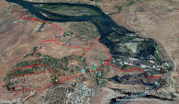 Victoria Falls Marathon course map