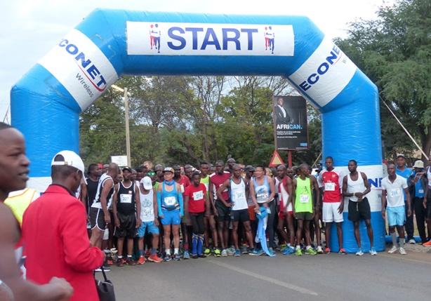 Victoria Falls Marathon start line