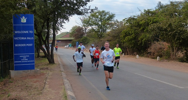 Mike Sohaskey at mile 3 of Victoria Falls Marathon