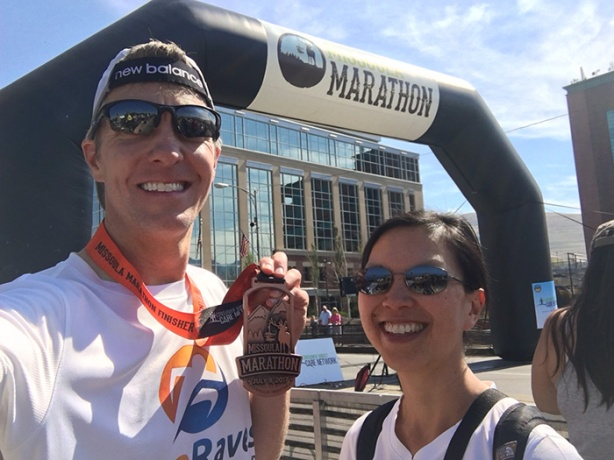Mike Sohaskey & Katie Ho - Missoula Marathon finish line selfie