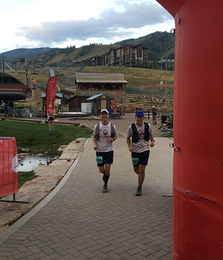 Mike Sohaskey and Ken Spruell finishing Run Rabbit Run 50
