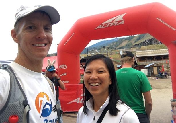Mike Sohaskey & Katie Ho at Run Rabbit Run finish line