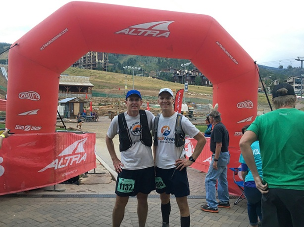 Mike Sohaskey and Ken Spruell at Run Rabbit Run finish