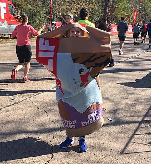 CLIF Bar mascot at the Houston Marathon