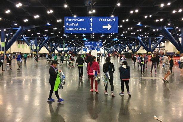 Houston Marathon post-race facility in the George R. Brown convention center