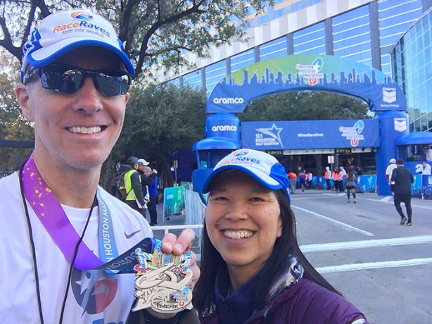 Mike Sohaskey and Katie Ho – Houston Marathon finish line selfie