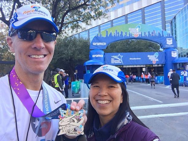 Mike Sohaskey and Katie Ho –Houston Marathon finish line selfie