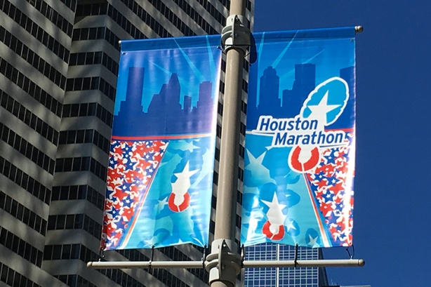 Houston Marathon banners downtown