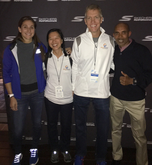 RaceRaves co-founders Mike and Katie with Meb and Kara Goucher