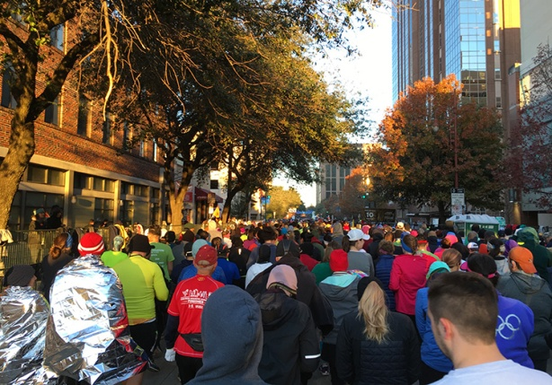 At the back of the pack at the Houston Marathon start line