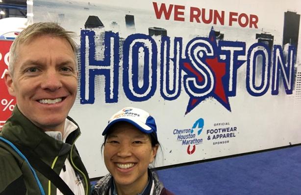 We Run For Houston sign at the Houston Marathon expo