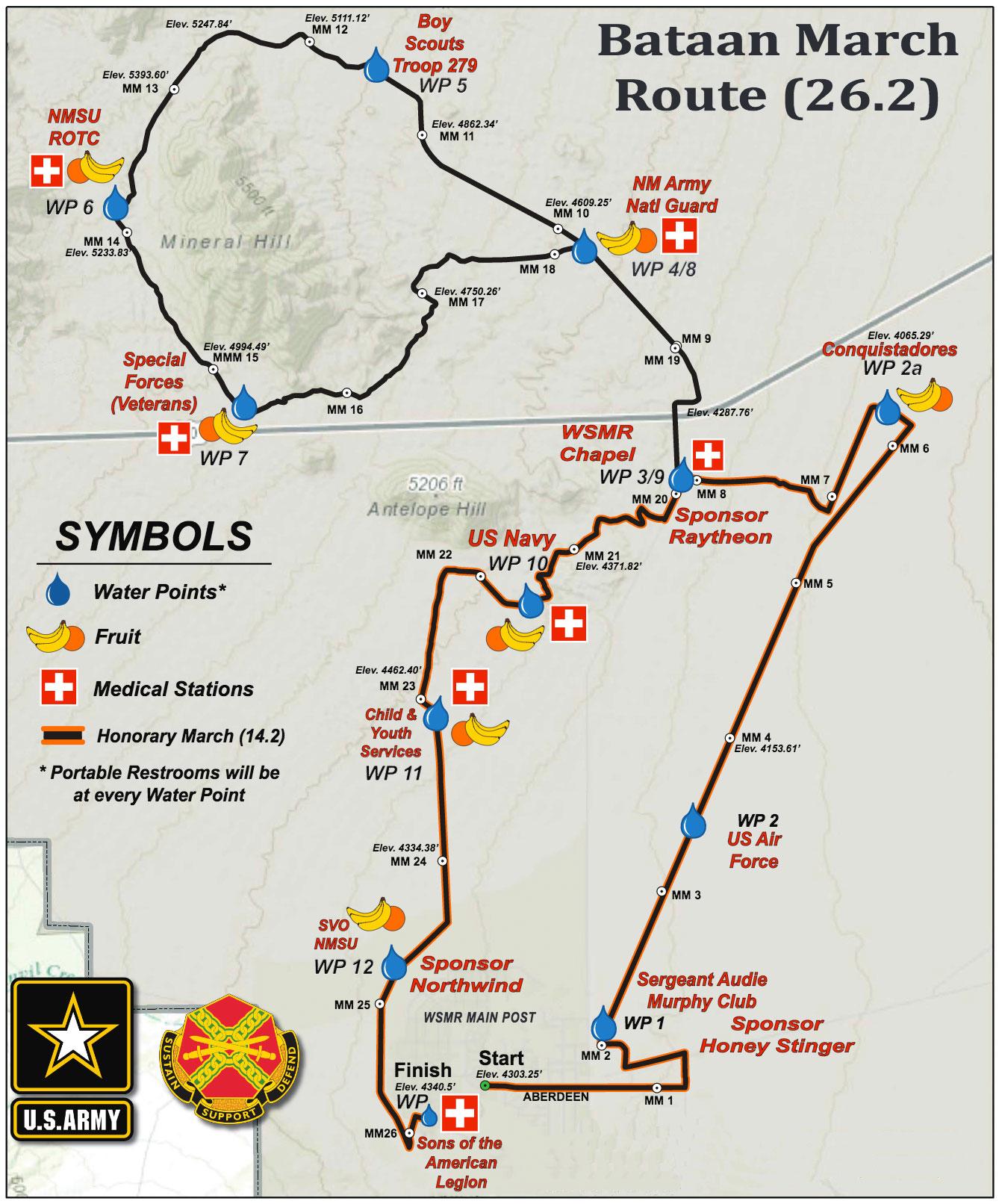Bataan Memorial Death March course route