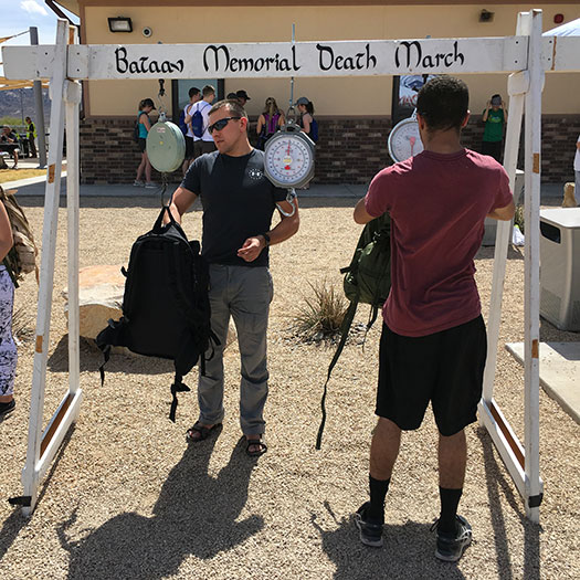 Bataan Memorial Death March weighing in of 35-lb packs