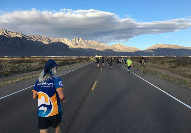 Chuck Sohaskey running Bataan Memorial Death March