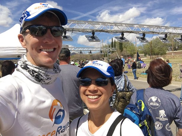 Mike Sohaskey & Katie Ho - Bataan Memorial Death March finish line selfie