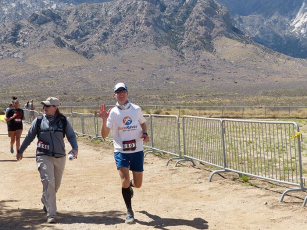 Mike Sohaskey finishing Bataan Memorial Death March 2018