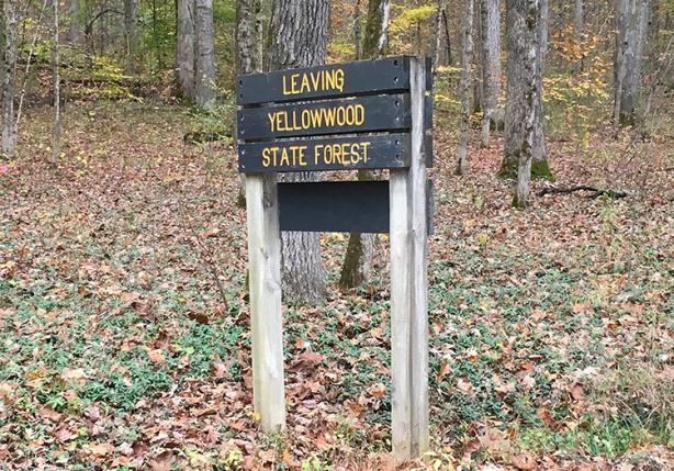 Yellowwood State Forest sign at Tecumseh Trail Marathon