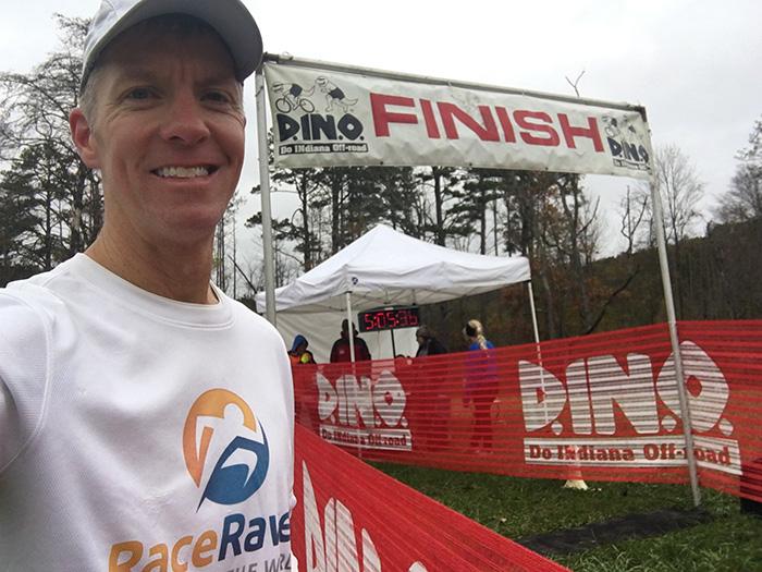 Mike Sohaskey - Tecumseh Trail Marathon finish line selfie