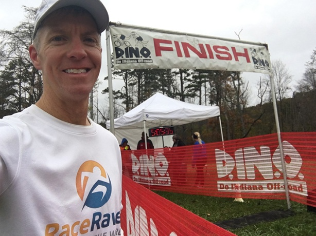 Mike Sohaskey - Tecumseh Trail Marathon finish line selfie