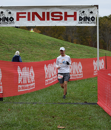 Mike Sohaskey finishing Tecumseh Trail Marathon