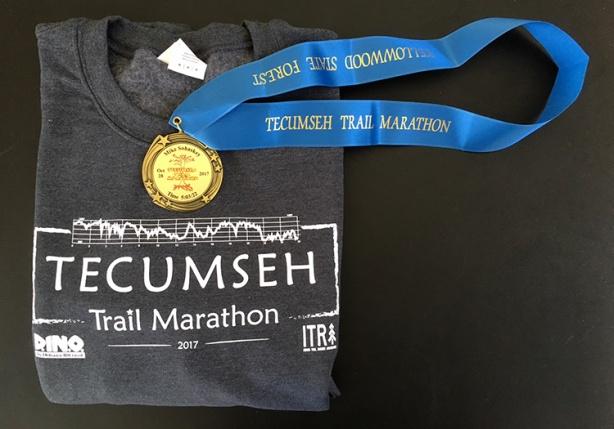 Tecumseh Trail Marathon sweatshirt and medal