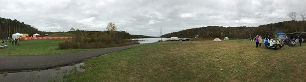 Tecumseh Trail Marathon finish area around Yellowwood Lake