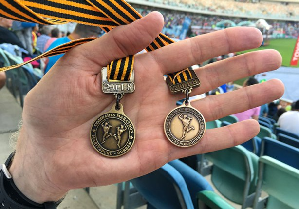 2018 Comrades Marathon and 2017-18 back-to-back medals