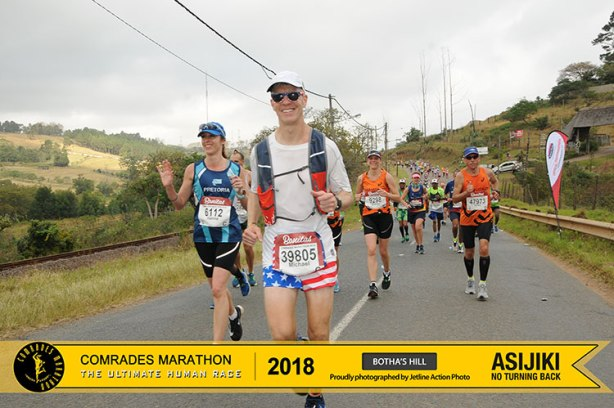Mike Sohaskey on Botha's Hill at 2018 Comrades Marathon down run