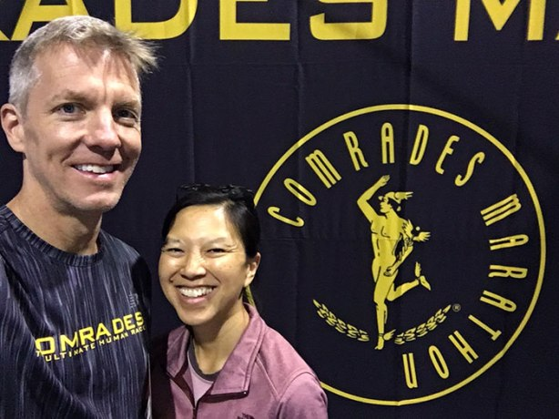 Mike Sohaskey and Katie Ho at 2018 Comrades Marathon expo