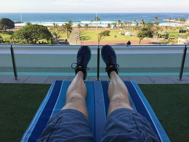 Relaxing at Southern Sun Elangeni leading up to 2018 Comrades Marathon