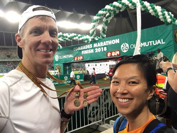 2018 Comrades Marathon finish line selfie with Mike Sohaskey and Katie Ho