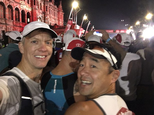 2018 Comrades Marathon start line selfie of Mike Sohaskey and Jimmy Nam