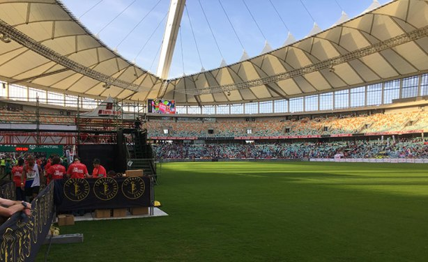 View from the 2018 Comrades Marathon finish chute inside Moses Mabhida Stadium