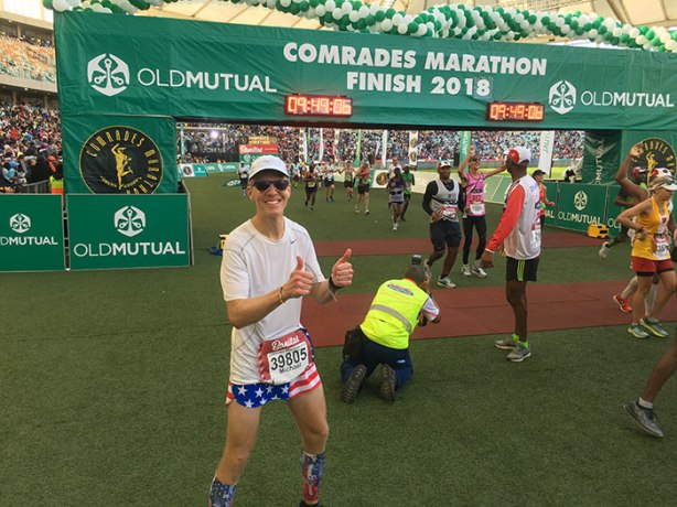 Mike Sohaskey at 2018 Comrades Marathon finish