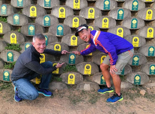 Mike Sohaskey and Jimmy Nam at Comrades Wall of Honour