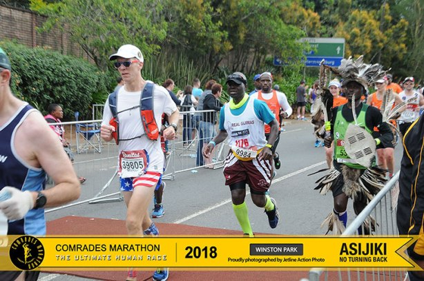 Mike Sohaskey crossing 4th cutoff in Winston Park at 2018 Comrades Marathon down run