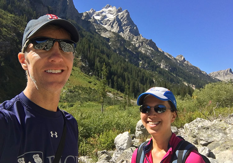 Mike Sohaskey & Katie Ho hiking in Cascade Canyon