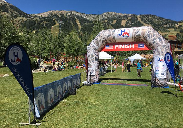 Finish line of Jackson Hole Marathon