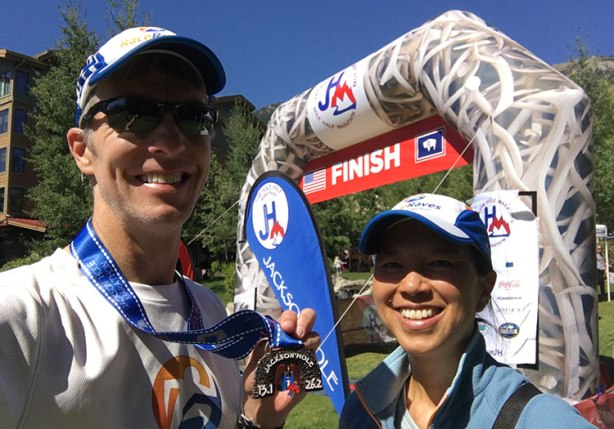 Mike Sohaskey & Katie Ho, Jackson Hole Marathon finish line selfie