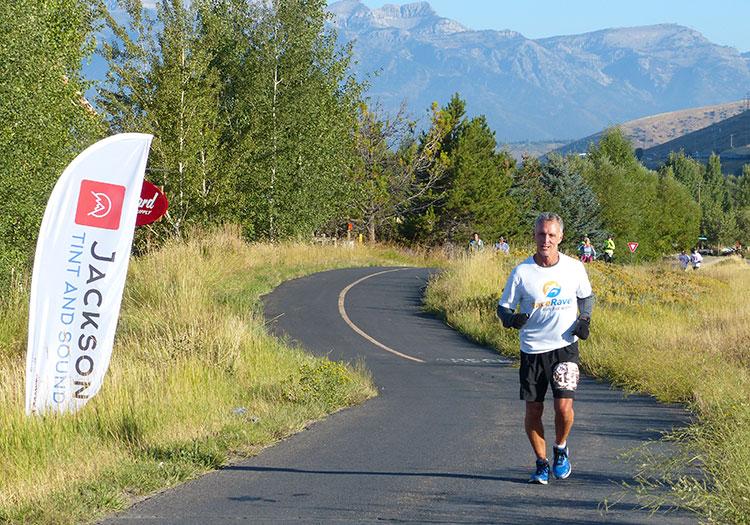 Jeff R at mile 8 of Jackson Hole Marathon
