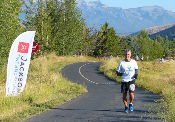 Jeff R at mile 8 of Jackson Hole Marathon