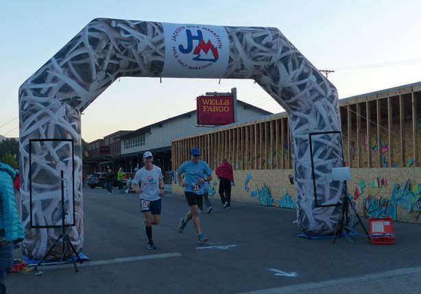 Ken S & Mike Sohaskey - last to start Jackson Hole Marathon 2018