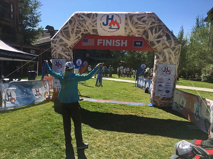Jackson Hole Marathon co-RD Lisa Smith-Batchen at finish line