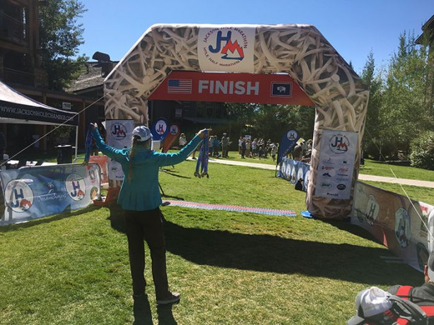 Jackson Hole Marathon co-RD Lisa Smith-Batchen at finish line