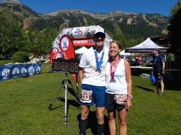 Mike Sohaskey & Susan K at Jackson Hole Marathon finish