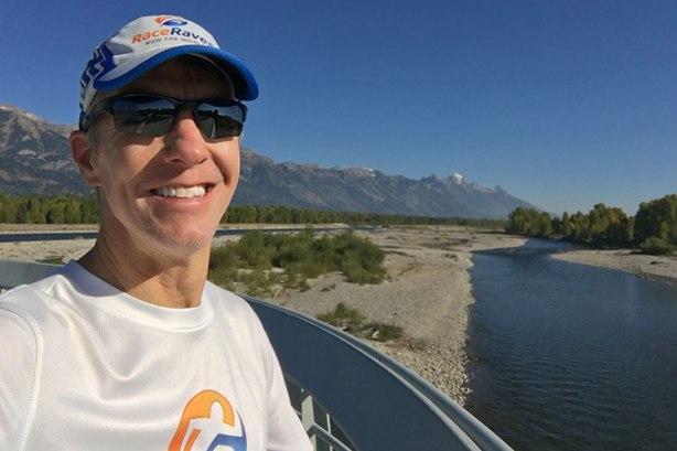 Bridge over Snake River at Mile 17 of Jackson Hole Marathon