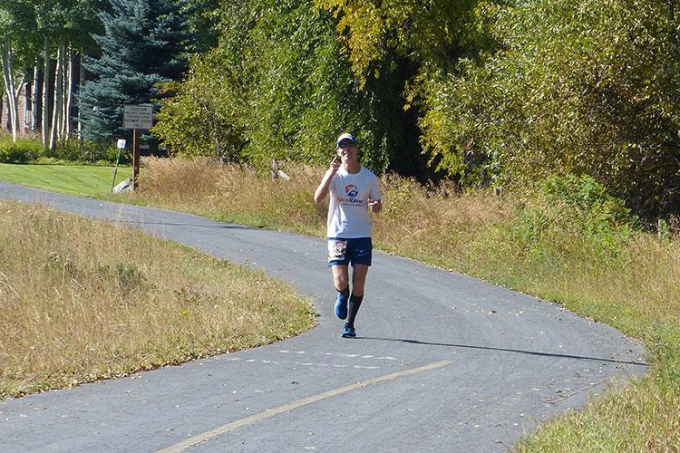 Mike Sohaskey at Mile 20 of Jackson Hole Marathon